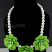 Resin-Rhinestone-Rose-Flowers-Glass-Pearl-Beads-Bib-Statemn-Gold-Plated-Necklace-281385714807-7662