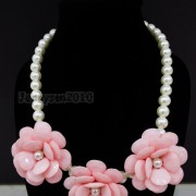 Resin-Rhinestone-Rose-Flowers-Glass-Pearl-Beads-Bib-Statemn-Gold-Plated-Necklace-281385714807-9f44
