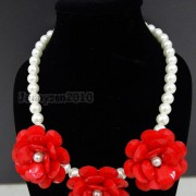 Resin-Rhinestone-Rose-Flowers-Glass-Pearl-Beads-Bib-Statemn-Gold-Plated-Necklace-281385714807-d948