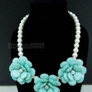 Resin-Rhinestone-Rose-Flowers-Glass-Pearl-Beads-Bib-Statemn-Gold-Plated-Necklace-281385714807-eee7