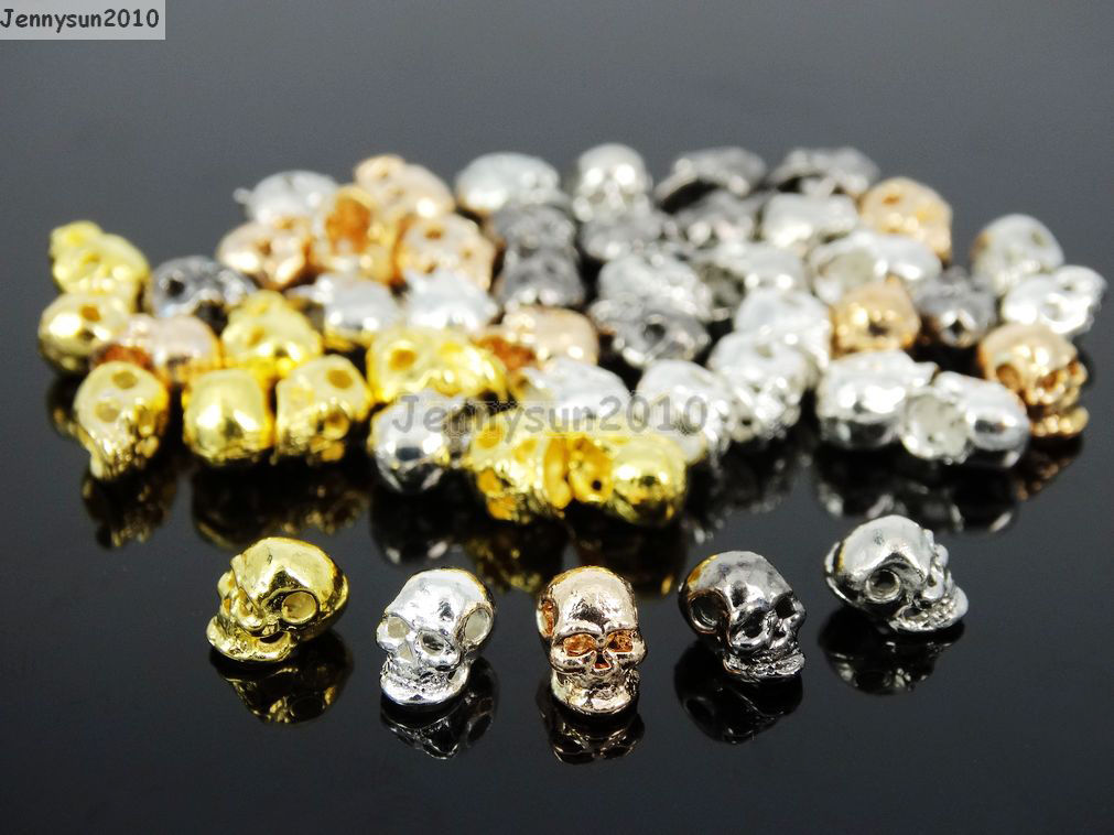 20pcs Metal Skull Bracelet Necklace Earring Connector Charm Spacer Beads