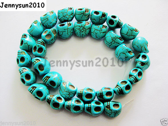 1 Strand 16/'/' Howlite Turquoise Carved Skull Loose Spacer Beads 10MM 12MM