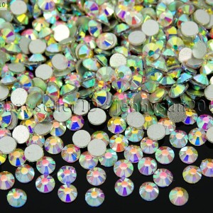 Top-Quality-Clear-AB-Crystal-Round-Rhinestones-Flatback-No-Hotfix-ss3-ss40-Pick-370874829264