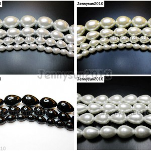 Top-Quality-Czech-Glass-Pearl-Pear-Teardrop-Loose-Beads-155-White-Cream-Black-261124932854