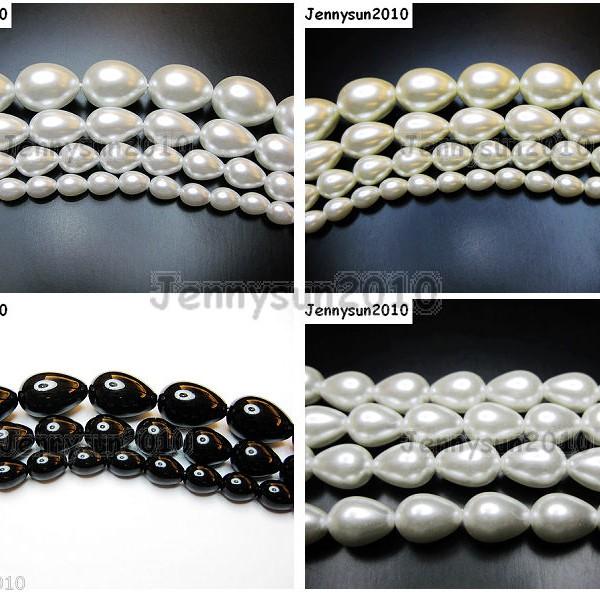 Top-Quality-Czech-Glass-Pearl-Pear-Teardrop-Loose-Beads-155-White-Cream-Black-261124932854