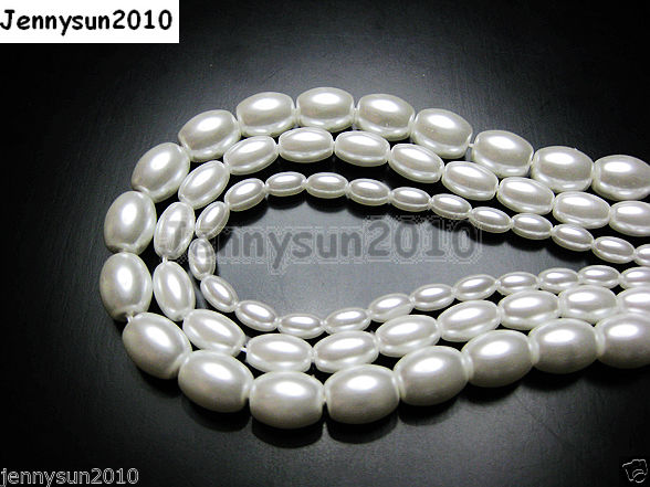 Top-Quality-Czech-Glass-White-Pearl-Oval-Rice-Loose-Beads-16-6mm-7mm-8mm-9mm-281018807224