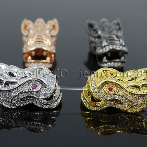 Zircone cubique Pave Gemstone Leopard Head Bracelet Connector Charm Beads