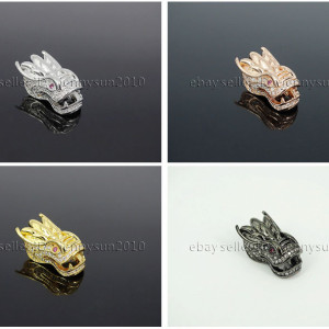 Zircon-Gemstones-Pave-Dragon-Head-Bracelet-Connector-Charm-Beads-Silver-Gold-262590627906