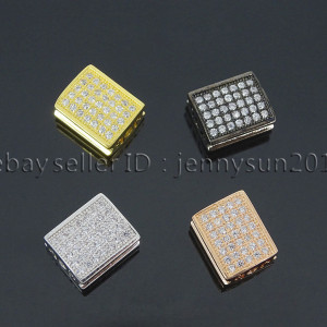 Zircon-Gemstones-Pave-Flat-Rectangle-9x11mm-Bracelet-Connector-Charm-Beads-282106230485