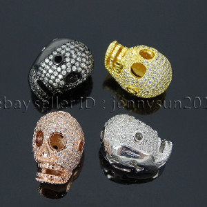 Zircon-Gemstones-Pave-Four-Holes-Skull-Bracelet-Connector-Charm-Bead-Silver-Gold-371673839622