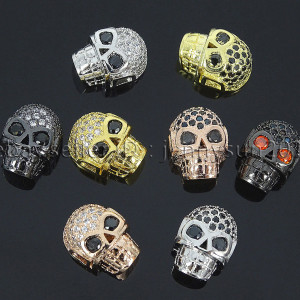 Zircon-Gemstones-Pave-Horizontal-Drilled-Skull-Bracelet-Connector-Charm-Beads-371674633995
