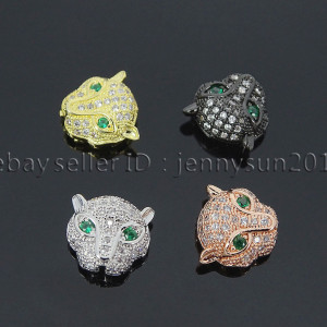 Zircon-Gemstones-Pave-Leopard-Head-Bracelet-Connector-Charm-Beads-Silver-Gold-371670563425