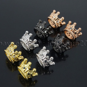 Zircon-Gemstones-Pave-Queen-Crown-Big-Hole-Bracelet-Connector-Charm-Beads-371878423265
