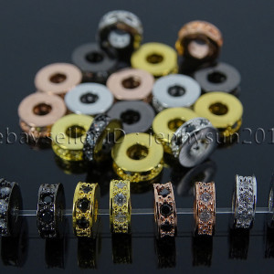 Zircon-Gemstones-Pave-Rondelle-Bracelet-Connector-Charm-Beads-Silver-Gold-Rose-262496578124