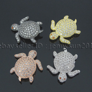 Zircon-Gemstones-Pave-Turtle-Bracelet-Connector-Charm-Beads-Silver-Gold-Gunmetal-262521090598
